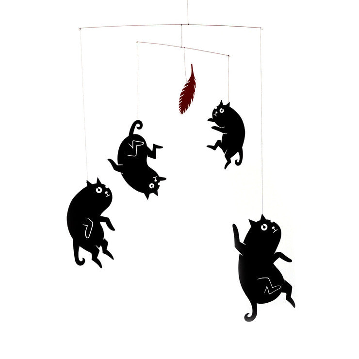 Cats And Feather Hanging Mobile