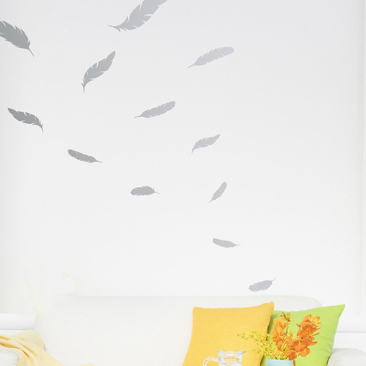 Feather Wall Decal 3 Pack Silver