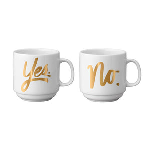 Yes & No Stackable Mug Pair