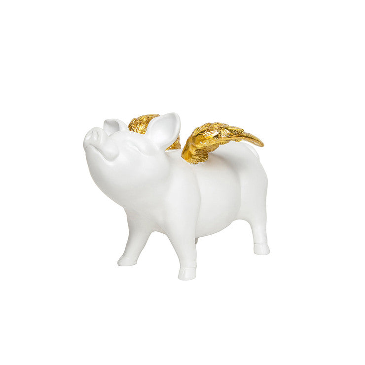 Piggy Bank With Gold Wings