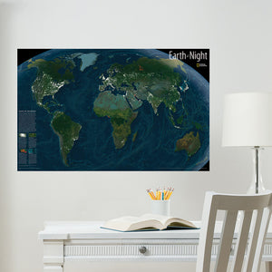 Earth At Night Map Wall Decal