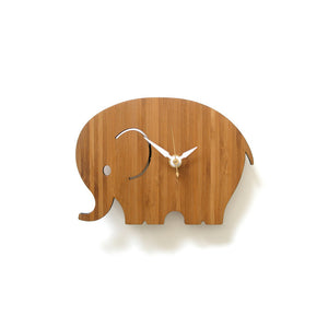 Bamboo Elephant Wall Clock Small