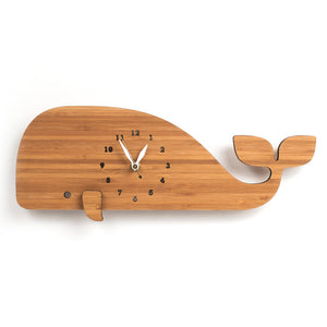 Bamboo Whale Wall Clock