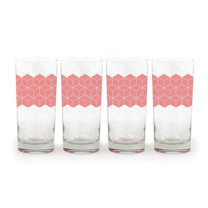 Glass Tumbler Pink Icon Set Of 4