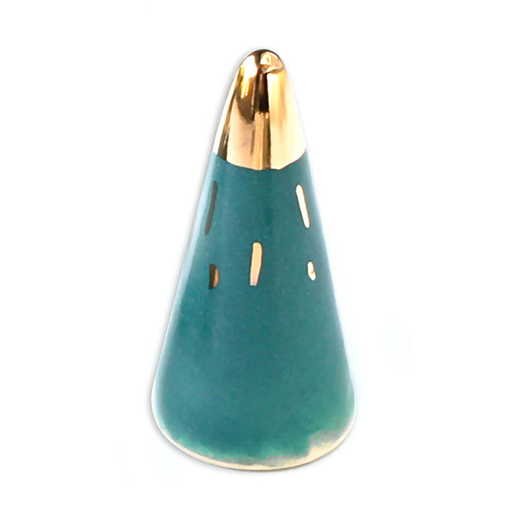 Cone Ring Holder Teal & Gold