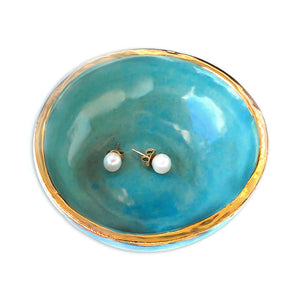 Jewelry Dish Teal & Gold