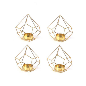 Diamond Tealight Holder Gold Set