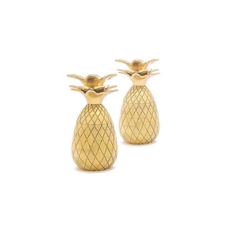 Pineapple Shot Glass Pair Gold
