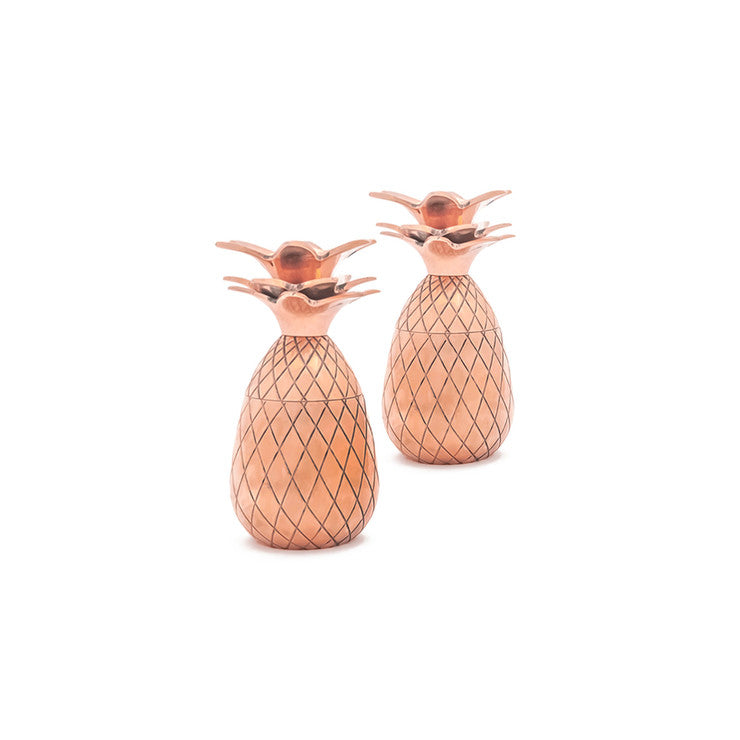 Pineapple Shot Glass Pair Copper