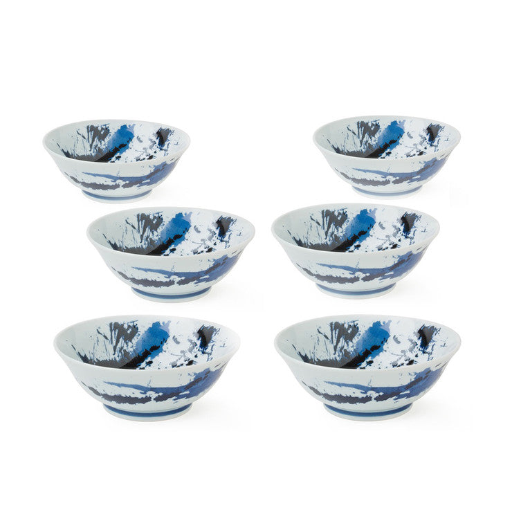 Sumi Noodle Bowl Blue Set Of 6