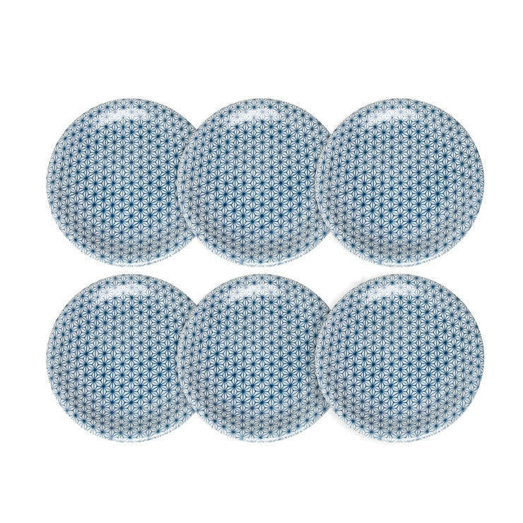 Asanoha Plate Blue Set Of 6