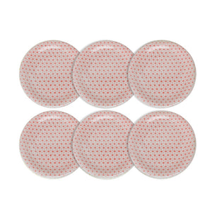 Asanoha Plate Red Set Of 6