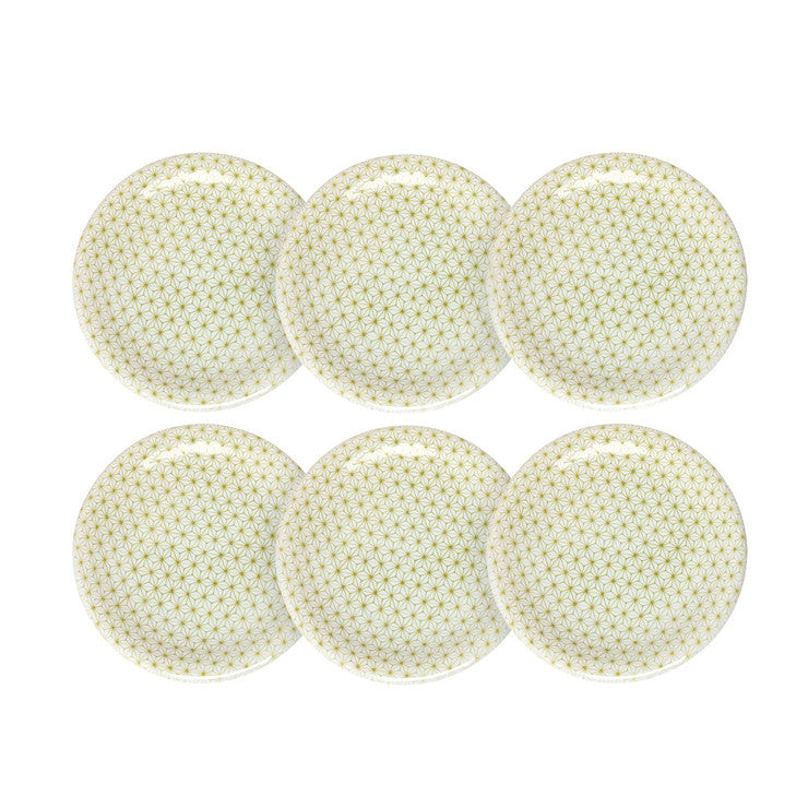 Asanoha Plate Green Set Of 6