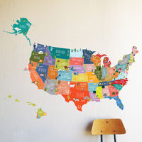 USA Interactive Map Wall Decal