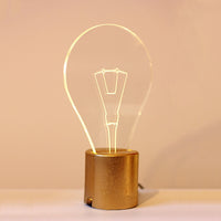 Bulb Lamp & Golden Concrete Base