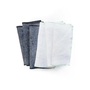 Twill 6 Napkin Set Mint & Black