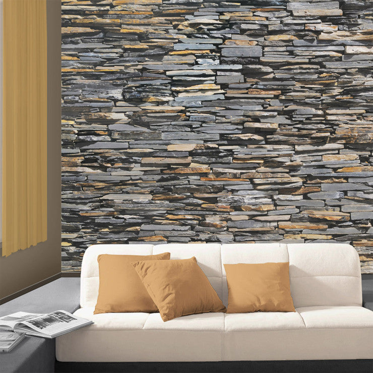 Graphite Stonewall Wall Paper