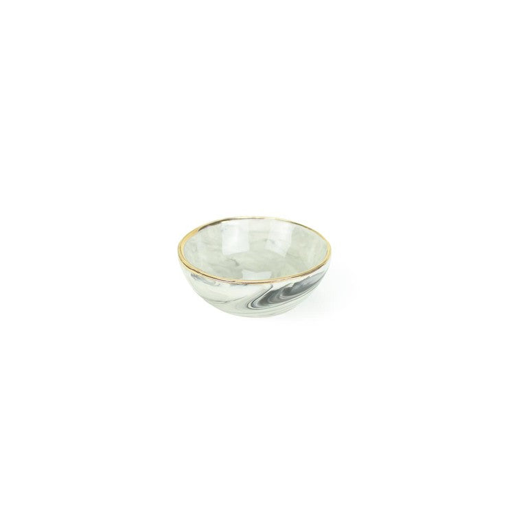 Gray Marbled Ring Bowl Gold Rim