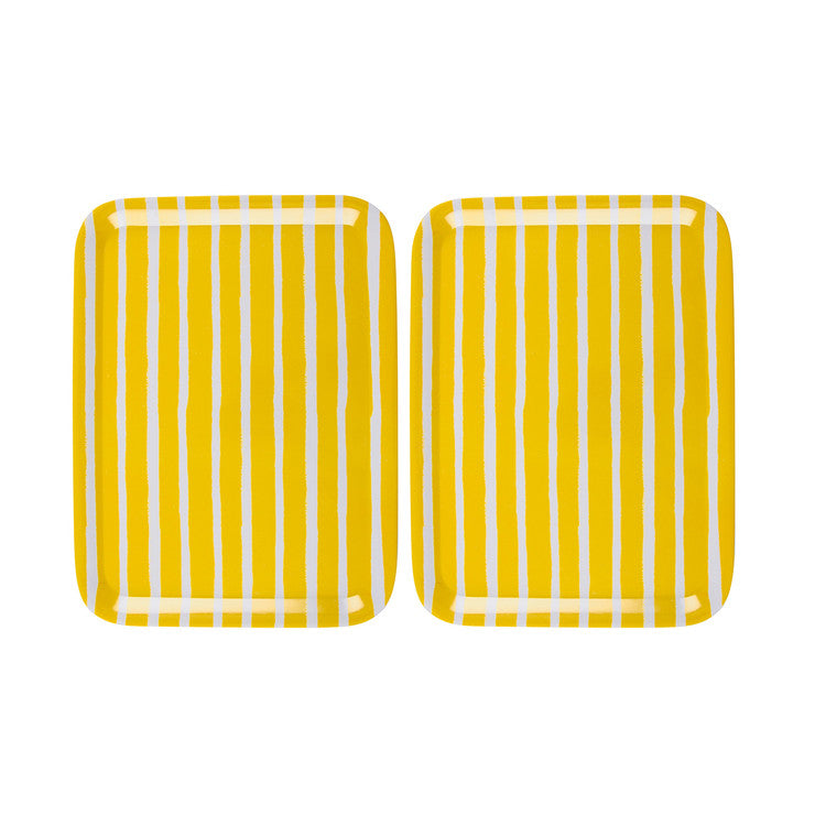 Striped Tray Yellow Pair