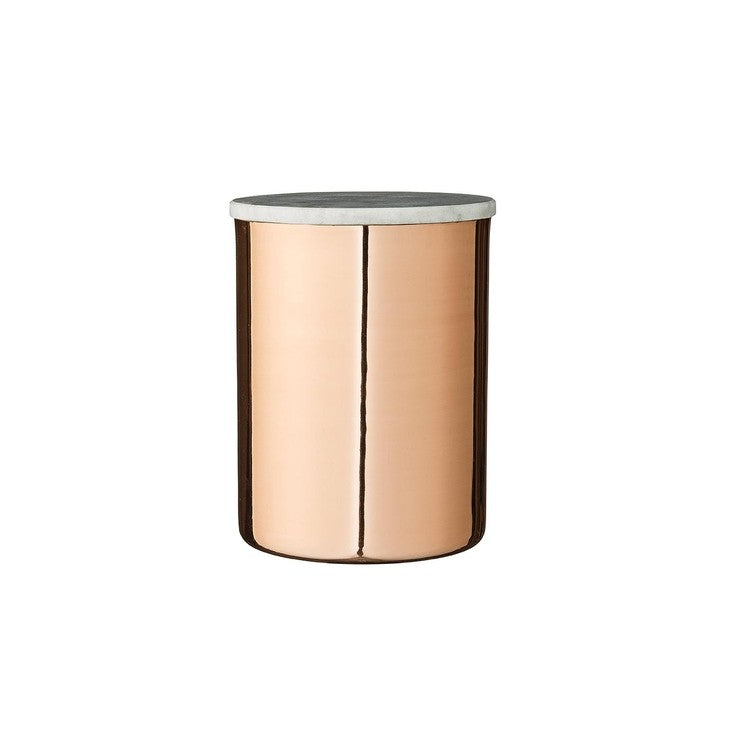 Metal Jar Copper Gray Marble Lid