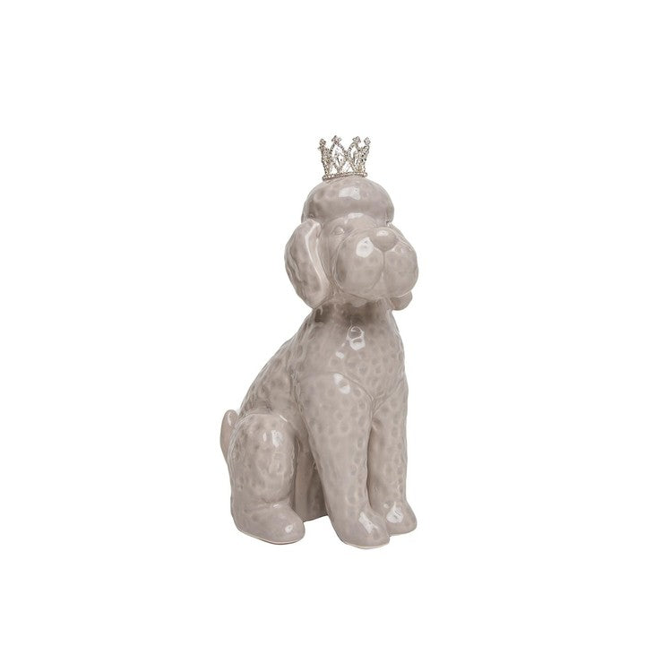 Grey Poodle With Crown