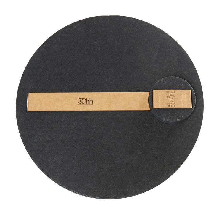 Round Placemat Coaster Set Blk