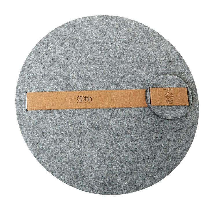 Round Placemat Coaster Set Gray
