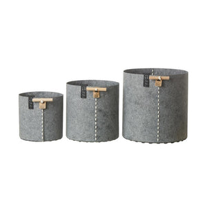 Felt Planters Gray Set Of 3