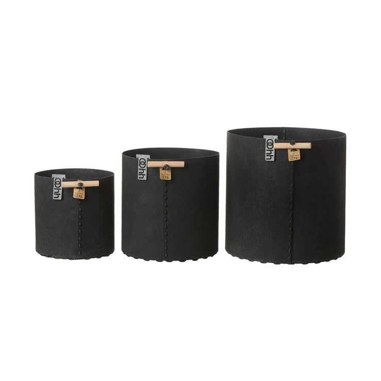 Felt Planters Black Set Of 3