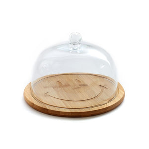 Bamboo Cheese Dome Smiley Large