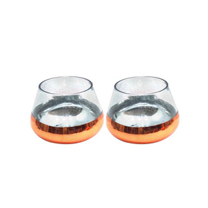Glass Copper-Bottom Votive Pair