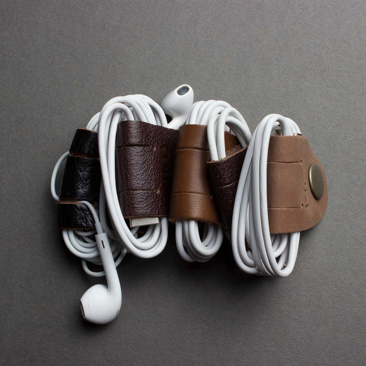 Leather Cord Holder Set of 5