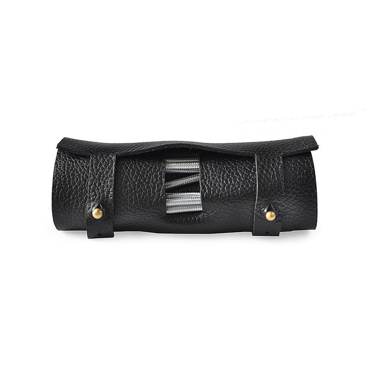 Leather Cord Wrap Travel Pouch - Black