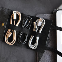 Leather Cord Wrap Travel Pouch