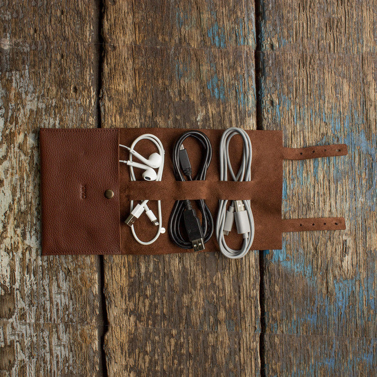 Leather Cord Wrap Travel Pouch Brown