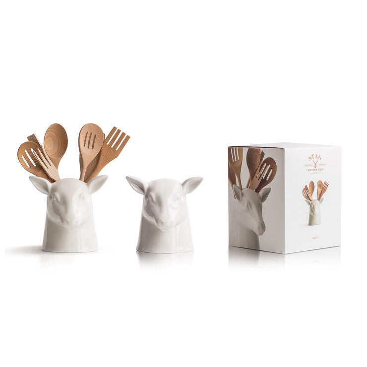 Ceramic Stag Head Utensil Holder