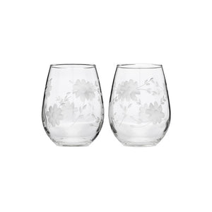 Floral Stemless Glass Set