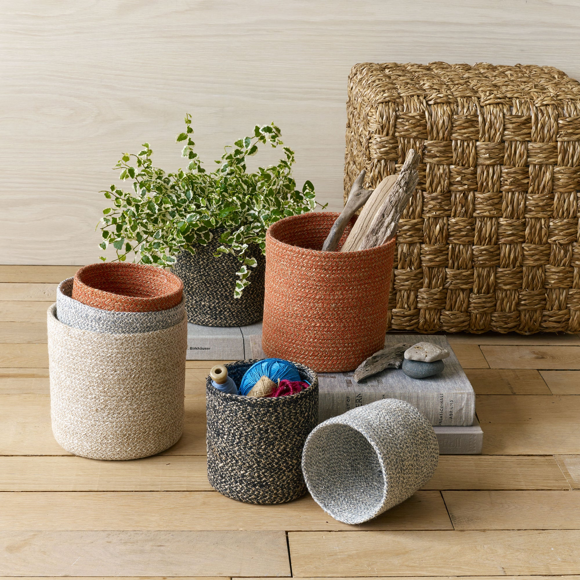 Melia Organizer Baskets Set of 4 in Black, Clay, Sand, and Slate