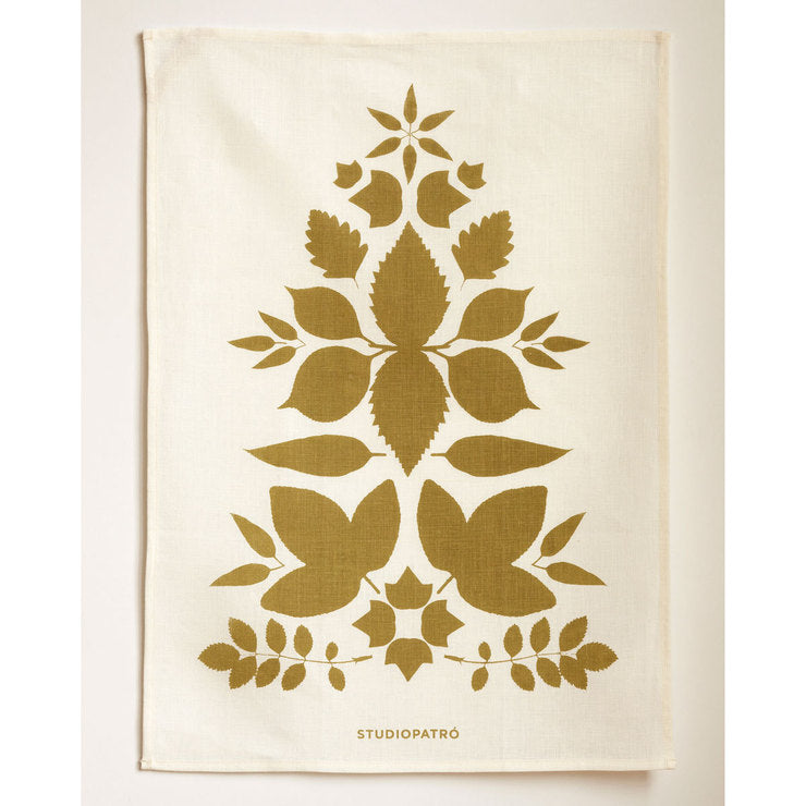 Leaf Tree Linen Olive Tea Towel