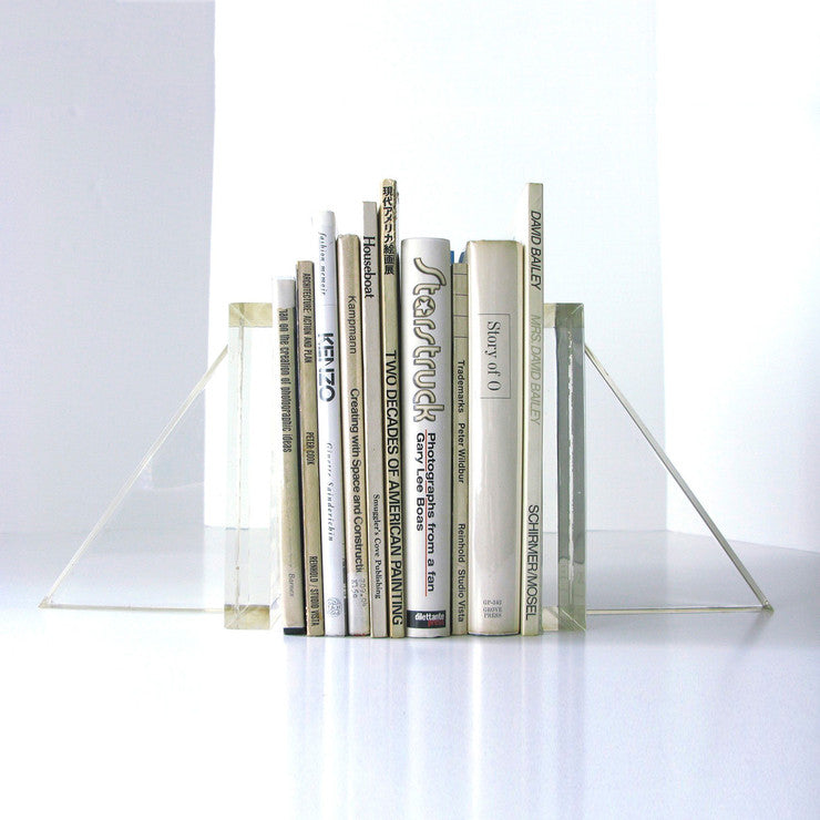 Geometric Lucite Bookends