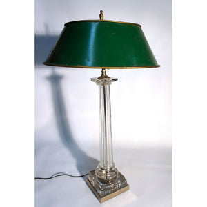 Glass Lamp With Tole Shade