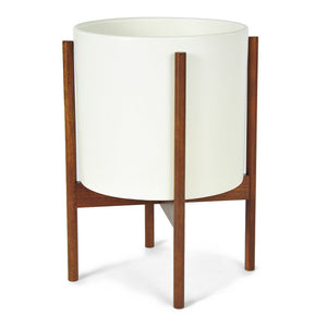 Large Planter White Walnut Stand