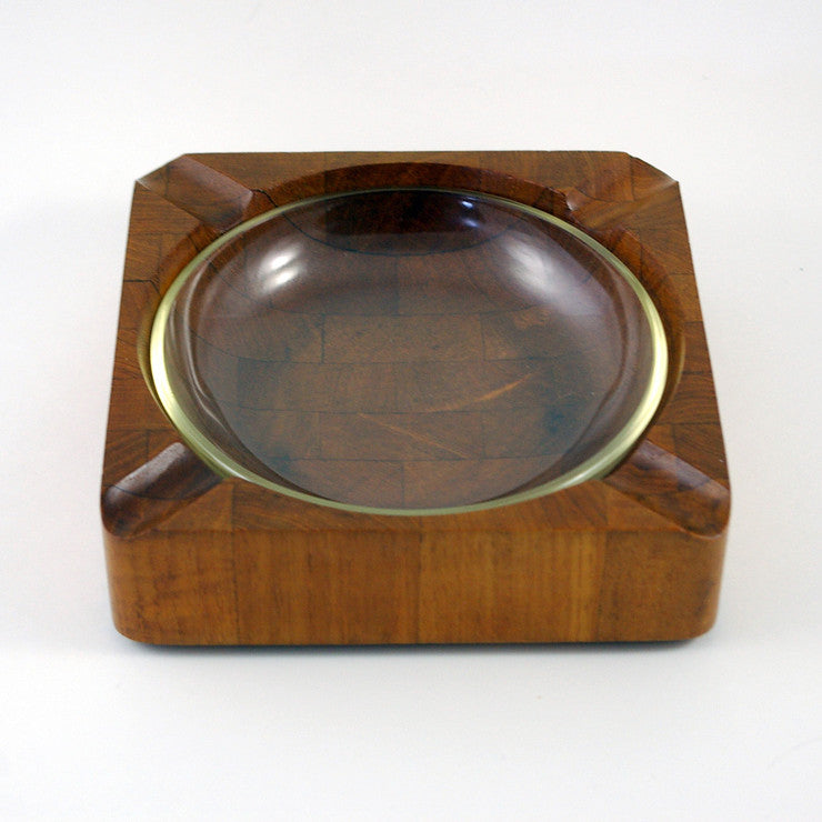 Teak Ashtray With Glass Insert