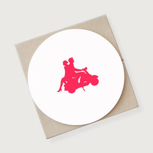 Couple on Vespa Coasters 4 Pack