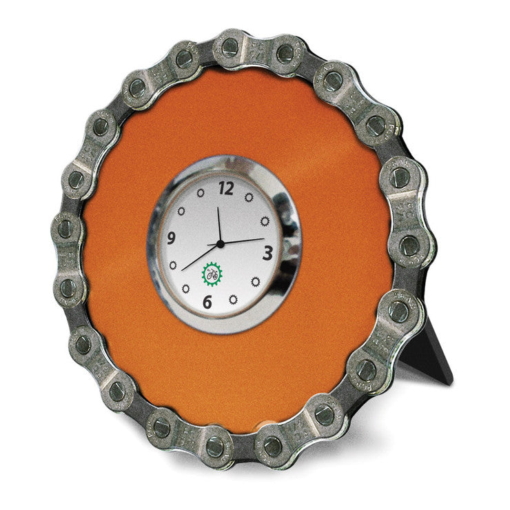 Bike Chain Desk Clock Orange