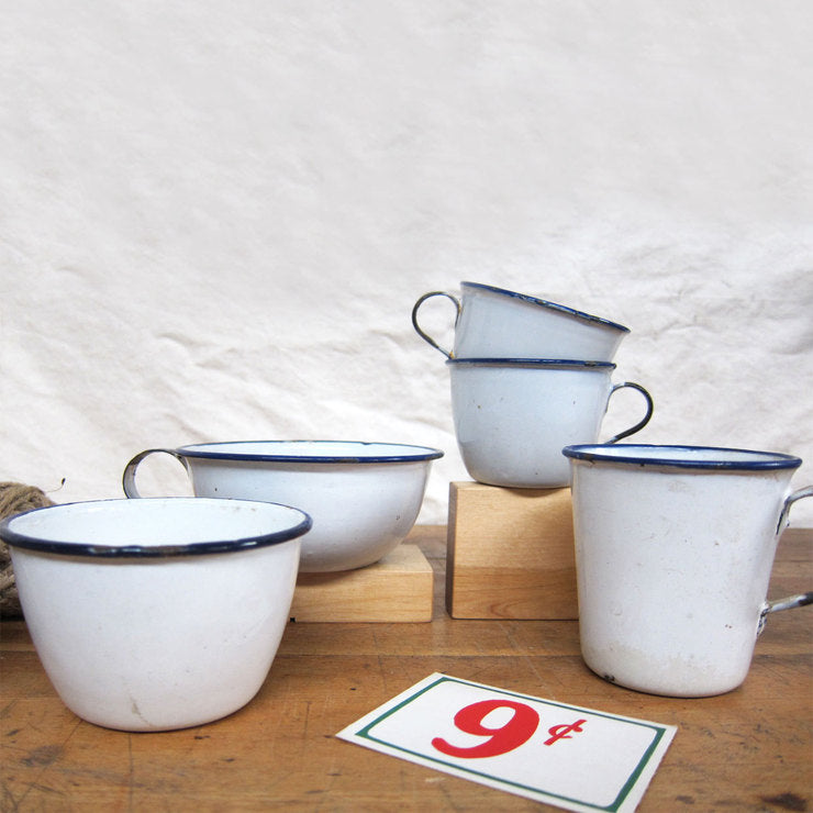 Blue Rim Enamelware 5pc II