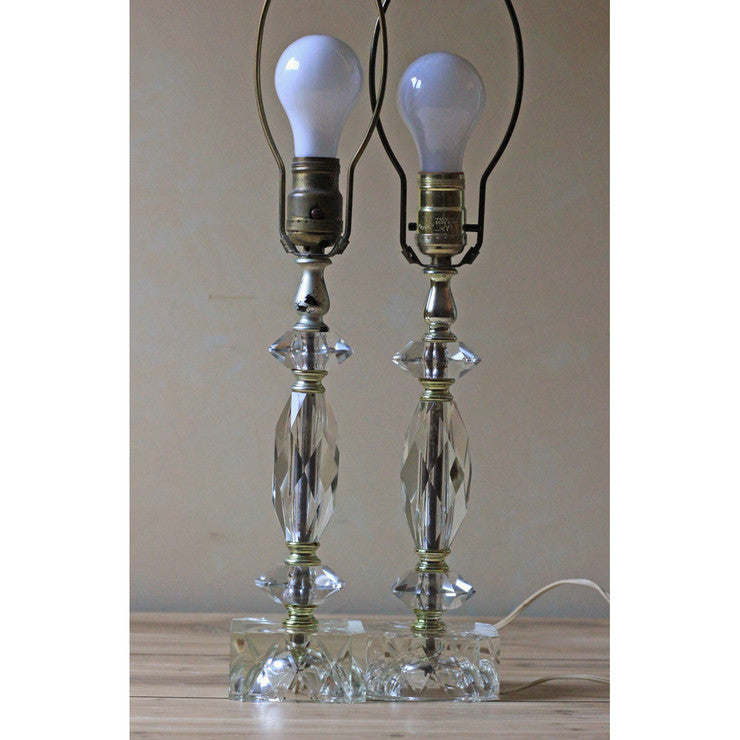 Cut Glass Table Lamps Pair