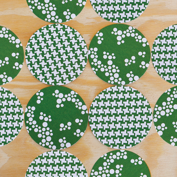 Green Check & Bubbles Coasters