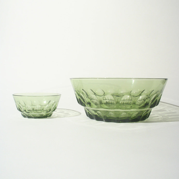 Chip And Dip Set Glass Green