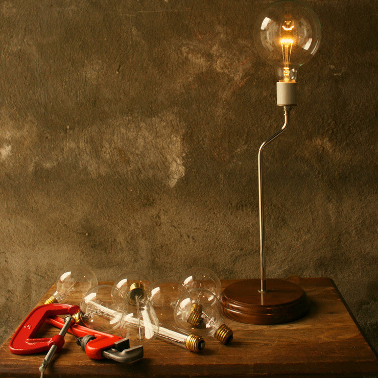 Globe Bulb Bent Steel Lamp